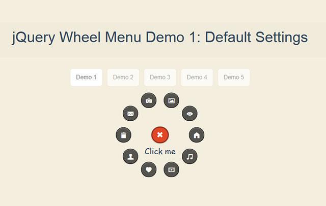 超酷jQuery环形按钮菜单效果插件