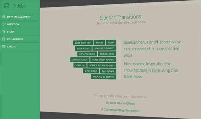 css3 transform 14种侧边栏导航的隐藏和显示动画效果
