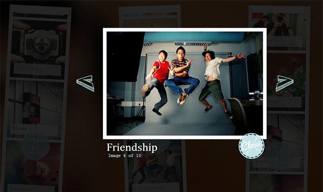 jQuery和css3长条照片风格lightbox插件