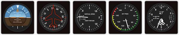 各种飞行仪表指示器