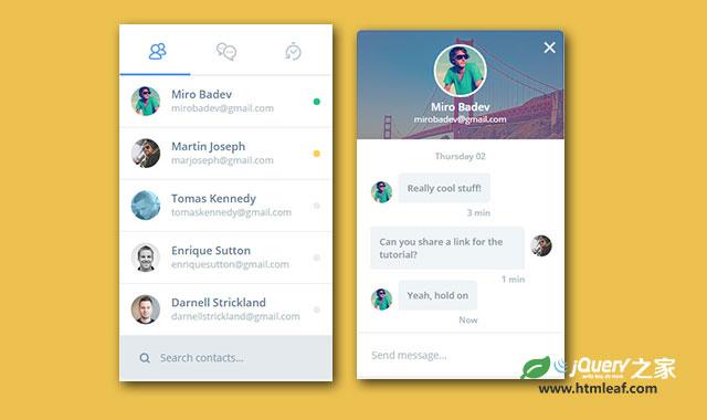 jQuery和CSS3时尚手机聊天框界面动画特效