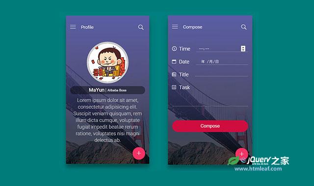 jQuery和CSS3超酷移动手机app界面设计