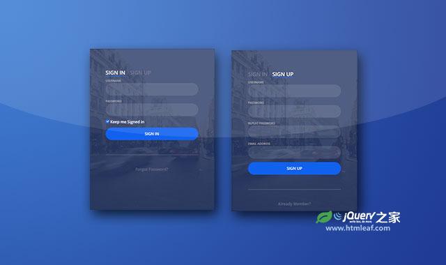 翻转式用户登录注册界面设计
