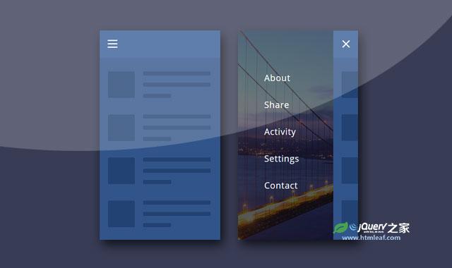 3种CSS3移动手机隐藏菜单UI界面设计
