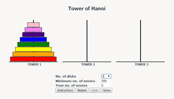 纯javascript实现汉诺塔可视化小游戏