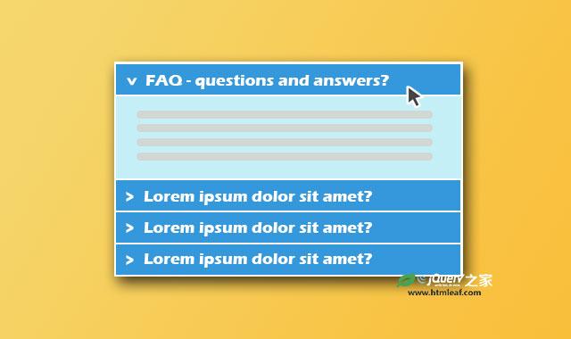 简单实用的jQuery FAQ手风琴特效