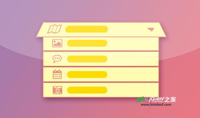 jQuery和CSS3折叠卡片式下拉列表框特效