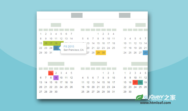 基于Bootstrap3的带记事功能的全年日历插件