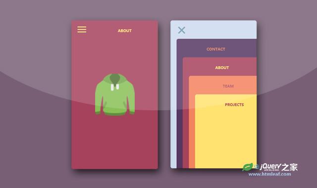 jQuery和CSS3堆叠卡片样式导航菜单特效