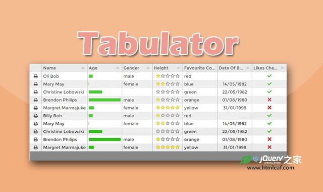 Tabulator-基于jQuery UI的实用表格插件