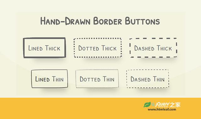 6种纯CSS3手绘风格卡通按钮设计效果
