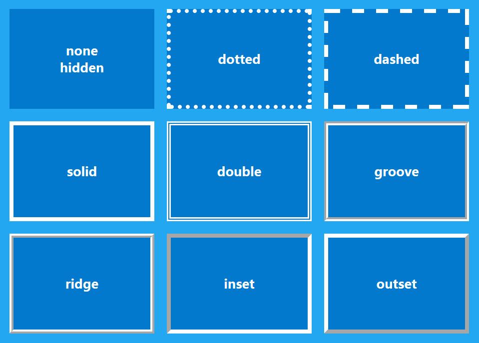 9种CSS边框样式预览图