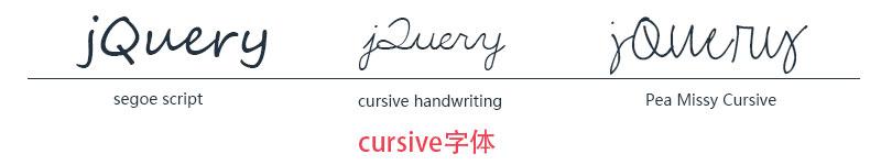 cursive字体