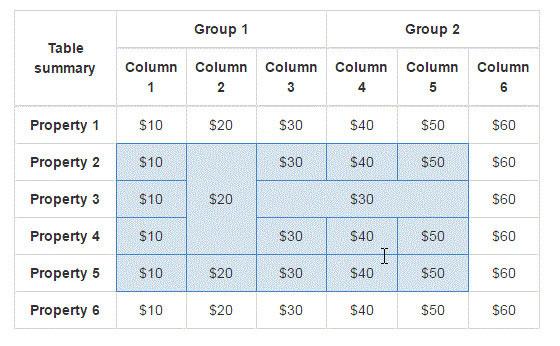使用插件之后选择表格单元格的效果图