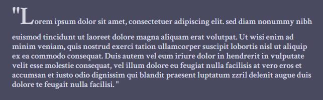 带引号的段落使用::first-letter属性后的效果