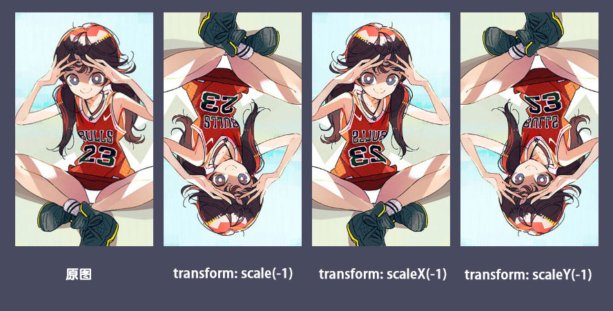 scale()函数取负值时的各种情况