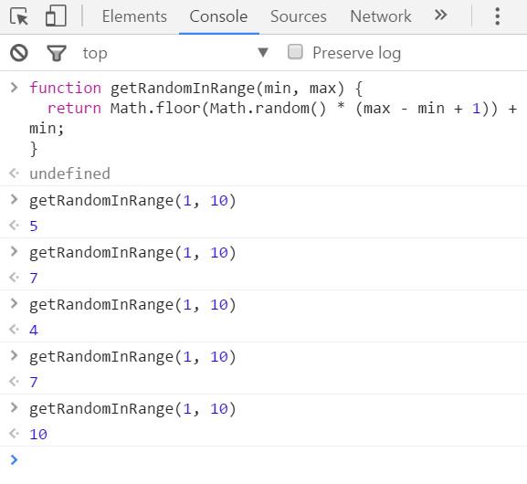 在chrome浏览器的控制台中测试js随机数-4