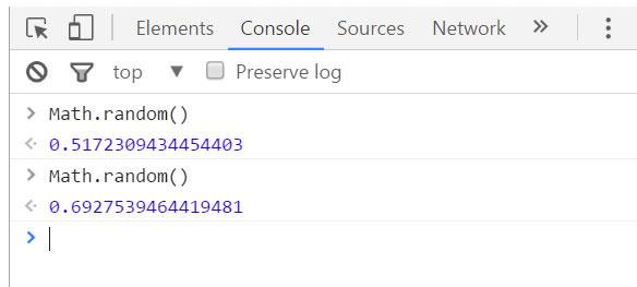 在chrome浏览器的控制台中测试js随机数