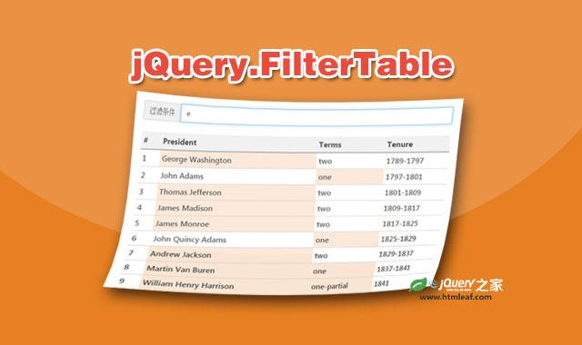 jQuery表格搜索过滤和单元格高亮插件