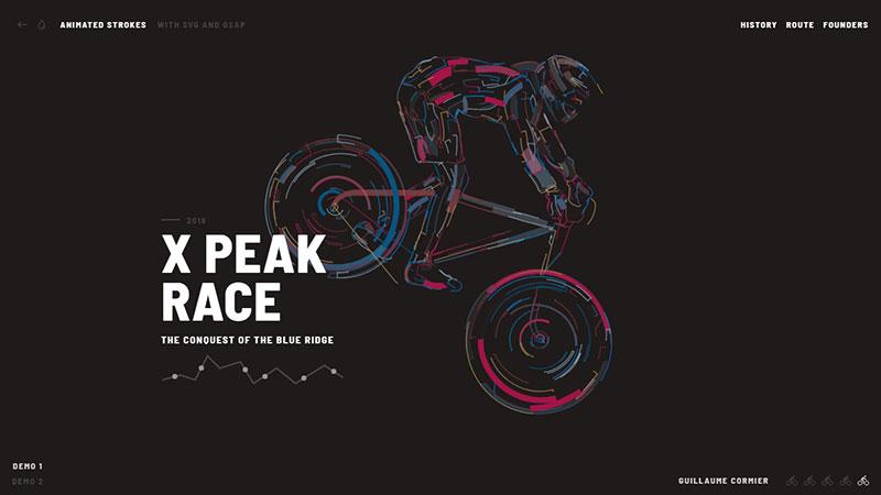 HTML5 svg 自行车运动描边动画特效-2