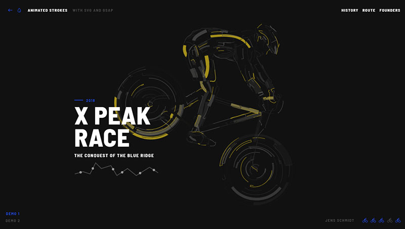HTML5 svg 自行车运动描边动画特效-3