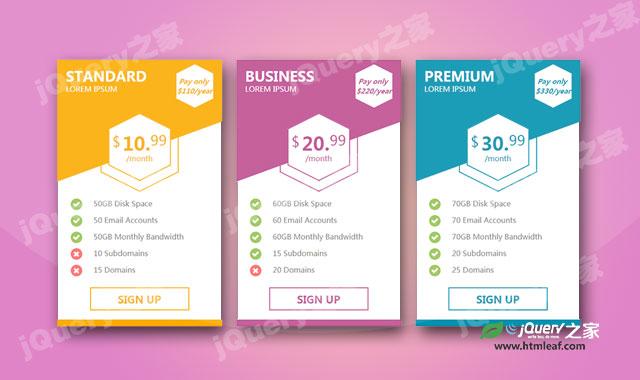 简洁的CSS价格表设计效果