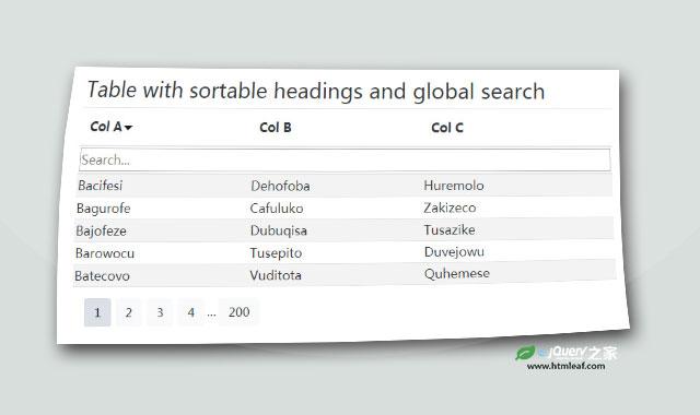 可分页、排序和搜索的jQuery表格插件